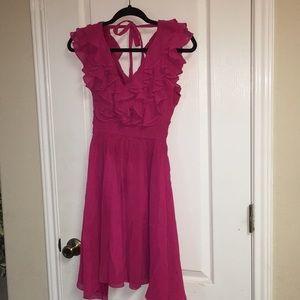 Arden B Fuchsia pink ruffled mini dress size xs